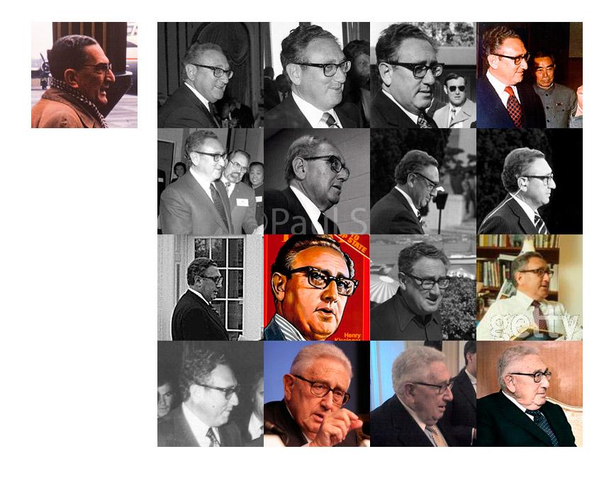 """Fotografia """"ghidului"""" de pe aeroportul Baneasa din 1964 comparata cu imagini ale lui Kissinger din diferite perioade."""