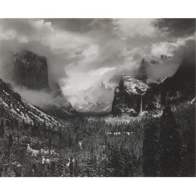 ANSEL ADAMS 1902-1984 - 'GATES OF THE VALLEY, WINTER, YOSEMITE VALLEY - 30,000 USD - © Sotheby's